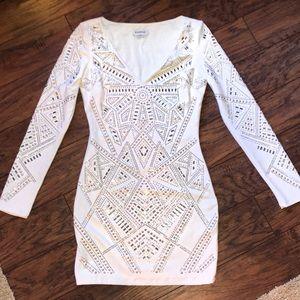 Bebe White crystal body-con dress